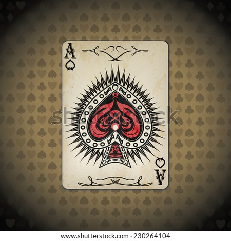 Ace of spades poker card old look - stock vector