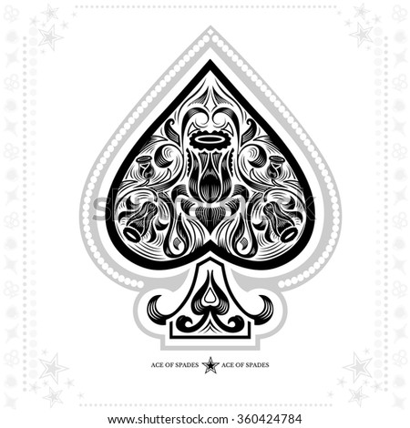 ace of spades with flower pattern inside. black in white - stock vector