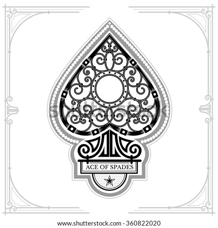 Ace of spades with forging curl pattern inside. Black on white - stock vector