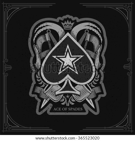 Ace of spades with vintage military elements around. White on black - stock vector