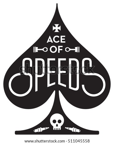 ace of spades. ace of speeds motorcycle or car racing vector design featuring spades shape with skull