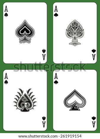 Aces of Spades in four versions on a green background