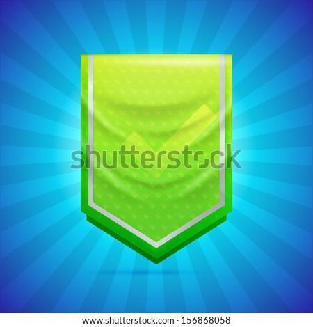 Achievement award pennant flag icon as insignia symbol, eps10 vector - stock vector