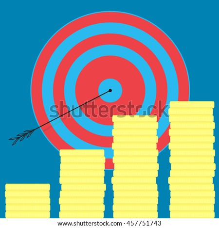 Achieving the goal, money and wealth. Goal setting and business success, vector illustration