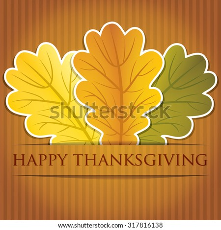 Acorn leaves Thanksgiving card in vector format. - stock vector
