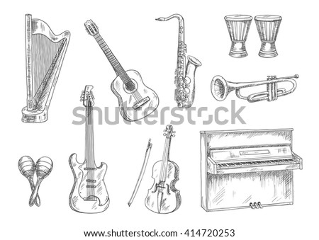 Acoustic and electric guitars, saxophone, violin, trumpet, upright piano, conga drums and harp sketches. Vintage engraving musical instruments icons for art, music, entertainment theme