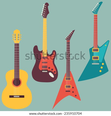 acoustic and electric guitars set - stock vector