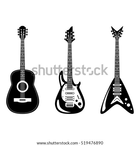 acoustic and electric guitars set. Vector illustration.