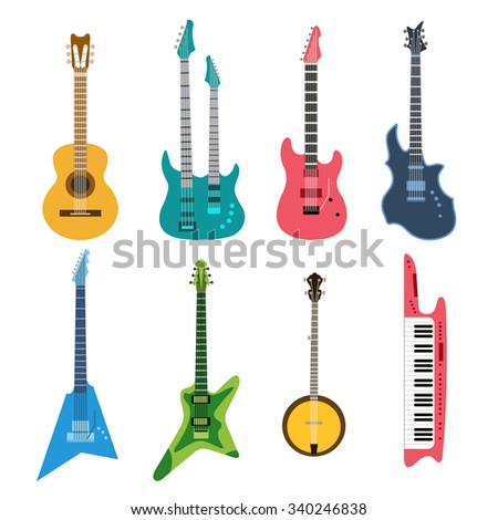 Acoustic and electric guitars vector icons set. Guitar isolated icons vector illustration. Guitars isolated on white background. Guitars silhouette. Music, concert, sound, fun, guitars. Vector guitars