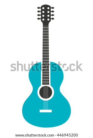 Acoustic blue guitar music instrument icon design, vector illustration image. - stock vector