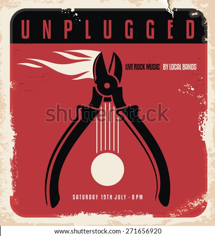 Acoustic concert retro poster design template on old paper texture. Unplugged live music by local bands printing material layout. Document template. - stock vector