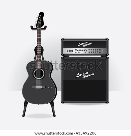 Acoustic Electric Guitar with Guitar amplifier vector illustration - stock vector