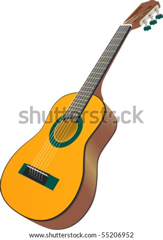 Acoustic Guitar - Acoustic guitar against a white background. - stock vector
