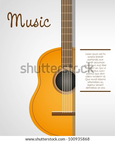 acoustic guitar background with space for text, vector illustration - stock vector