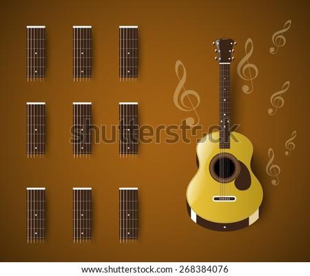 Acoustic Guitar Chord Blank Template Bar Stock Vector HD (Royalty ...