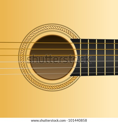 acoustic guitar close-up - stock vector