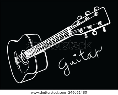 Acoustic guitar, drawn guitar on black background - stock vector
