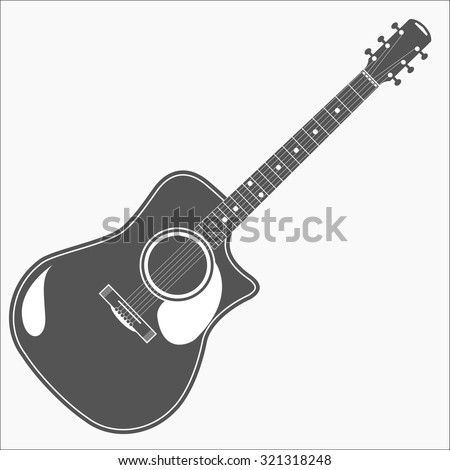 Acoustic guitar for different projects - stock vector