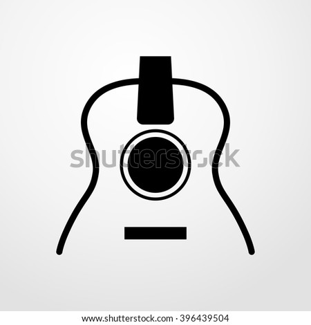 acoustic guitar icon - stock vector