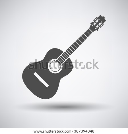 Acoustic guitar icon on gray background with round shadow. Vector illustration. - stock vector