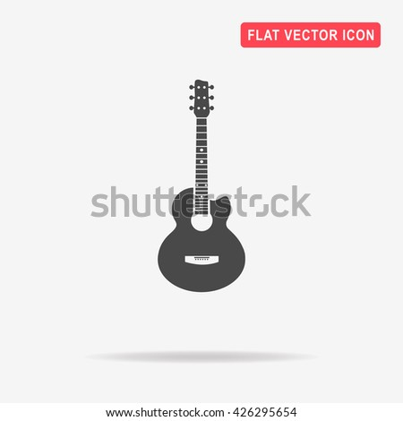 Acoustic guitar icon. Vector concept illustration for design. - stock vector