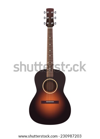 acoustic guitar illustration isolated on white background, vector