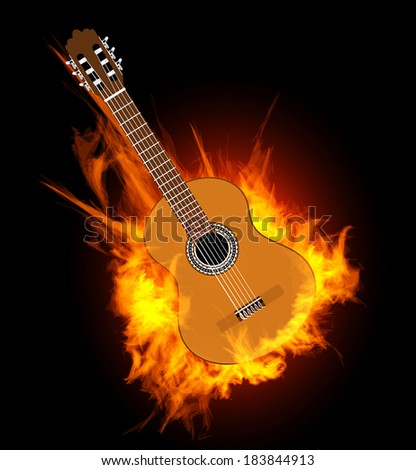 Acoustic guitar in fire flame.  Vector illustration on black