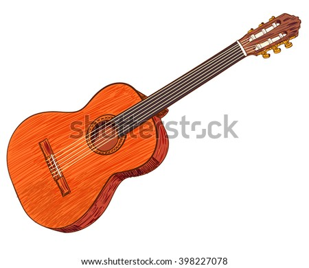 Acoustic guitar isolated on white. Colored guitar. VECTOR illustration. Wooden guitar  - stock vector