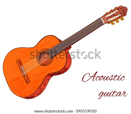 Acoustic guitar isolated on white. Colored guitar. VECTOR sketch  - stock vector