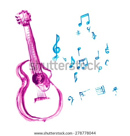 acoustic guitar made with watercolor strokes and musical notes - stock vector