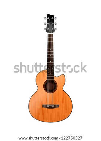 acoustic guitar on a white
