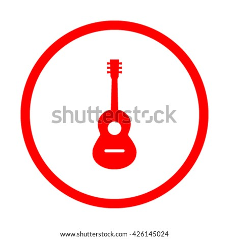 Acoustic guitar sign icon. Music symbol - stock vector
