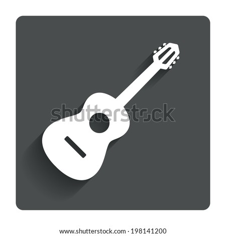 Acoustic guitar sign icon. Music symbol. Gray flat button with shadow. Modern UI website navigation. Vector - stock vector