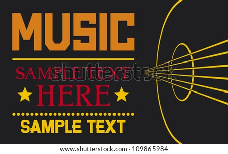 acoustic guitar - vector background (musical poster design, music design) - stock vector