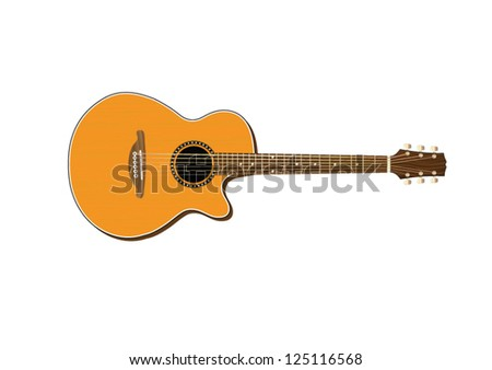 Acoustic Guitar Vector Illustration - stock vector