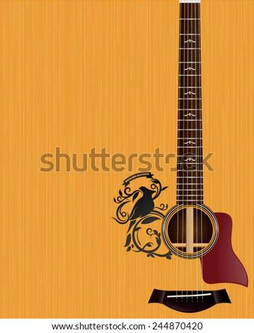Acoustic Guitar Wallpaper Illustration - stock vector