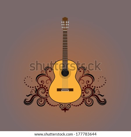 Acoustic guitar with decorative ornament - stock vector