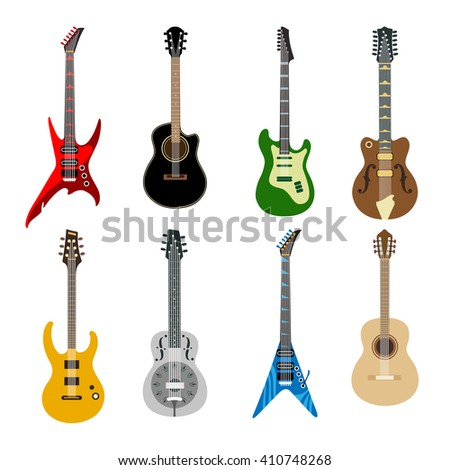Acoustic guitars and electric guitars colored icons on white background. Different shape guitars vector icons set - stock vector