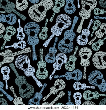 Acoustic guitars music theme seamless background, seamless pattern, vector. - stock vector