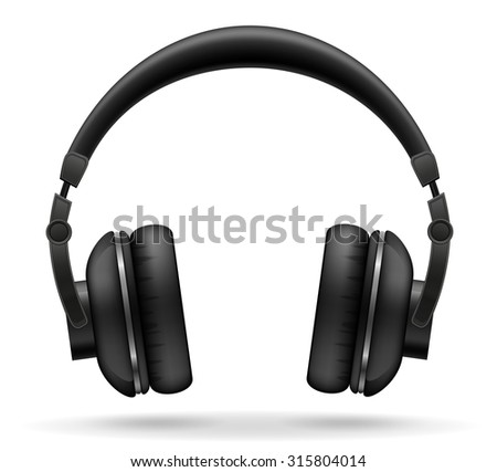acoustic headphones vector illustration isolated on white background - stock vector