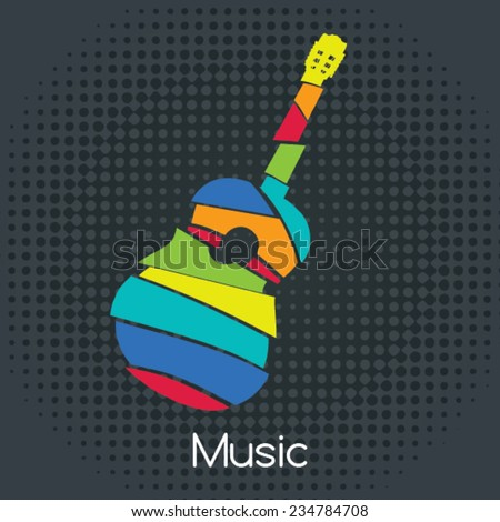 acoustic Retro Guitar, Vector illustration. Musical symbols for poster design. Colored music instrument vector graphic.  - stock vector