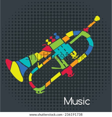 Acoustic Retro Trumpet, Vector illustration. Musical symbols for poster design. Colored music instrument vector graphic.  - stock vector