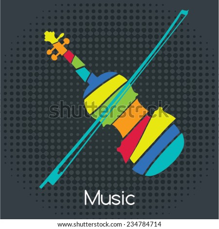 acoustic Retro Violin, Vector illustration. Musical symbols for poster design. Colored music instrument vector graphic.  - stock vector