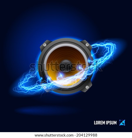 Acoustic speaker in blue flashes and lighting circle - stock vector