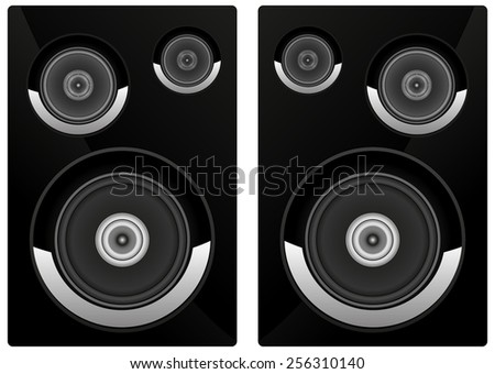 Acoustic system  - vector drawing isolated on white background - stock vector