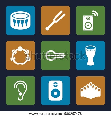 acoustic vector icons. Set of 9 acoustic filled icons such as ear, musical instrument, tonometer, drum, harmonica, tambourine, speaker
