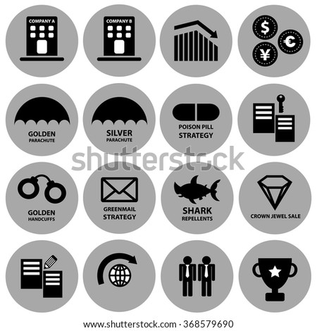 Acquisition and takeover strategy vector icon set