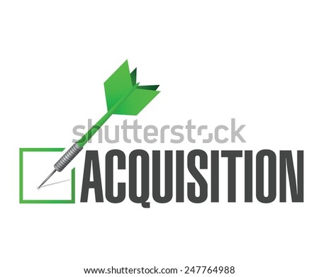 acquisition approval check dart illustration design over a white background - stock vector