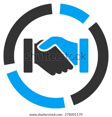 Acquisition diagram icon from Business Bicolor Set. This isolated flat symbol uses modern corporation light blue and gray colors. - stock vector
