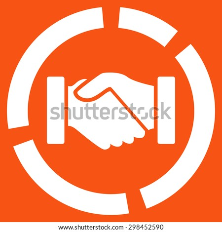Acquisition diagram icon from Business Bicolor Set. Vector style is flat symbol, white color, rounded angles, orange background. - stock vector